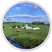 3d203 Ohio Farm Photo Round Beach Towel
