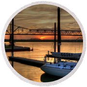 Ohio River Sailing Round Beach Towel