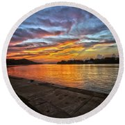 Ohio River Sunset Round Beach Towel