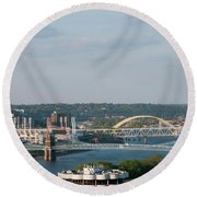 Ohio River's Suspension Bridge Round Beach Towel