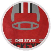 Ohio State Buckeyes Vintage Football Art Round Beach Towel