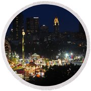 D3l-464 Ohio State Fair With Columbus Skyline Round Beach Towel