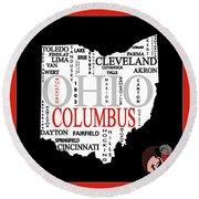Ohio State Map Typography Round Beach Towel