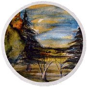 Round Beach Towel featuring the painting Ohio Sunset by Mindy Newman