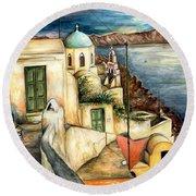 Oia Santorini Greece - Watercolor Round Beach Towel