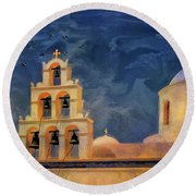 Round Beach Towel featuring the photograph Oia Sunset Imagined by Lois Bryan