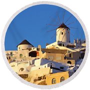 Oia Windmill Round Beach Towel