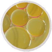 Oil Bubbles On Water Abstract Round Beach Towel
