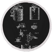 Oil Can Patent Round Beach Towel