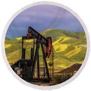 Round Beach Towel featuring the photograph Oil Field And Temblor Hills by Marc Crumpler