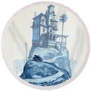Oil Fields And Orchards Round Beach Towel