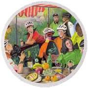 Oil- Luncheon Of The Cycling Party Round Beach Towel