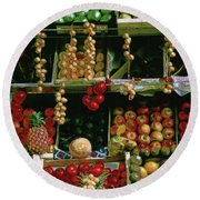 Oil Painted Faux Paris Fruit Display Round Beach Towel
