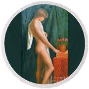 Original Oil Painting Male Nude Boy Man On Canvas#16-2-5-16 Round Beach Towel