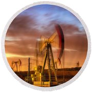 Oil Rig 1 Round Beach Towel