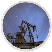 Oil Rig And Stars Round Beach Towel