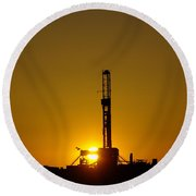 Oil Rig Near Killdeer In The Morn Round Beach Towel