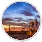 Oil Rigs 3 Round Beach Towel