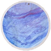 Oil Spill On Water Abstract Round Beach Towel