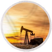 Oil Stained Sky Round Beach Towel