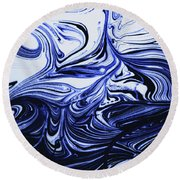 Oil Swirl Blue Droplets Abstract I Round Beach Towel