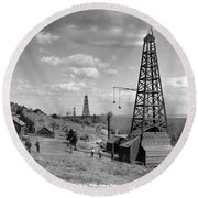 Round Beach Towel featuring the photograph Oil Well, Wyoming, C1910 by Granger