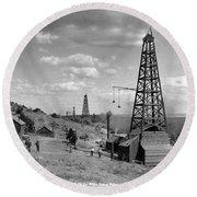 Oil Well, Wyoming, C1910 Round Beach Towel