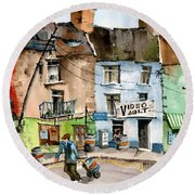 Ok Wheres The Party. Clifden, Galway. Round Beach Towel