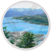 Round Beach Towel featuring the painting Okanagan Blue by Bonnie Heather