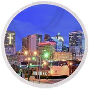 Round Beach Towel featuring the photograph Okc Blue Evening by Frozen in Time Fine Art Photography