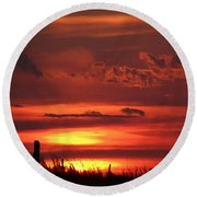 Oklahoma Sky At Daybreak  Round Beach Towel