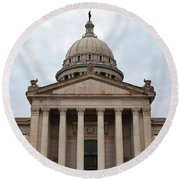 Oklahoma State Capitol - Front View Round Beach Towel