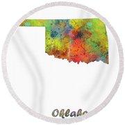 Oklahoma State Map Round Beach Towel