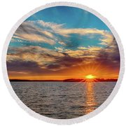 Oklahoma Sunset Round Beach Towel by Doug Long
