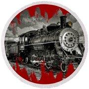 Old 104 Steam Engine Locomotive Round Beach Towel