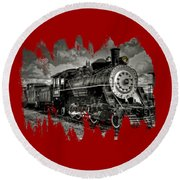 Old 104 Steam Engine Locomotive Round Beach Towel