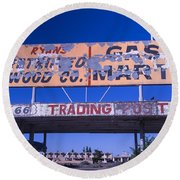 Old 66 Trading Post Round Beach Towel