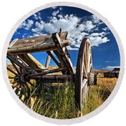 Old Abandoned Wagon, Bodie Ghost Town, California Round Beach Towel