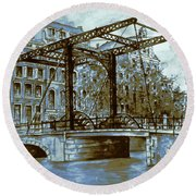 Old Amsterdam Bridge - Blue Water Color Round Beach Towel by Art America Gallery Peter Potter