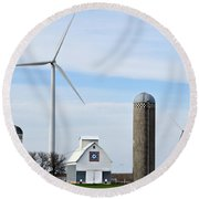 Old And New Farm Site Round Beach Towel