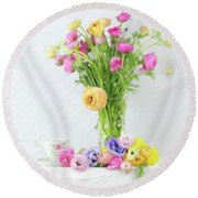 Old And New Ranunculus Round Beach Towel