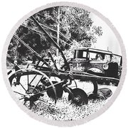 Old And Rusty In Black White Round Beach Towel