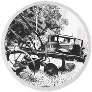Old And Rusty In Black White Round Beach Towel by MaryLee Parker