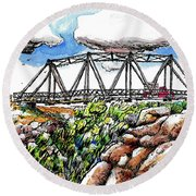 Old Arizona Bridge Round Beach Towel