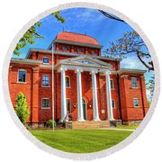 Old Ashe Courthouse Round Beach Towel by Dale R Carlson