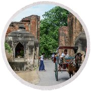 Old Bagan Round Beach Towel by Werner Padarin