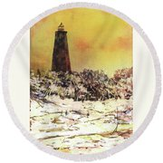 Round Beach Towel featuring the painting Old Baldy Lighthouse- North Carolina by Ryan Fox