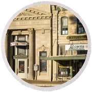 Old Bank - New Museum Round Beach Towel