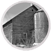 Round Beach Towel featuring the photograph Old Barn And Wood Stave Silo by Randy Rosenberger