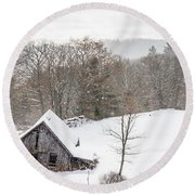 Old Barn On A Winter Day Wide View Round Beach Towel